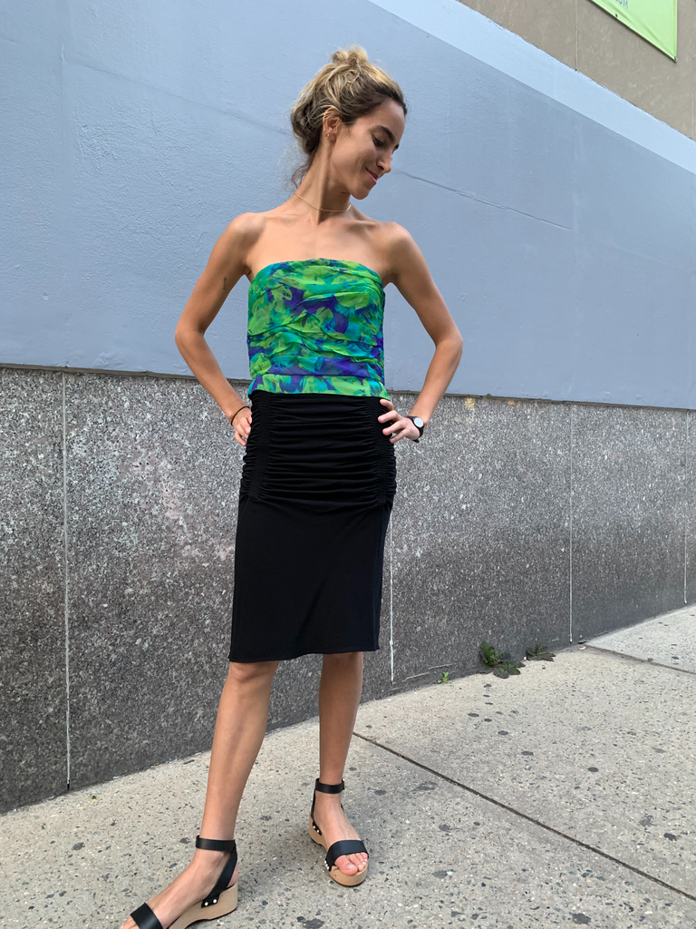 08/90's Alaïa Black Pleated Ruched Skirt
