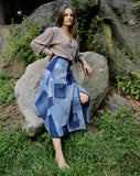 Daniela Denim Patchwork Wrap-skirt