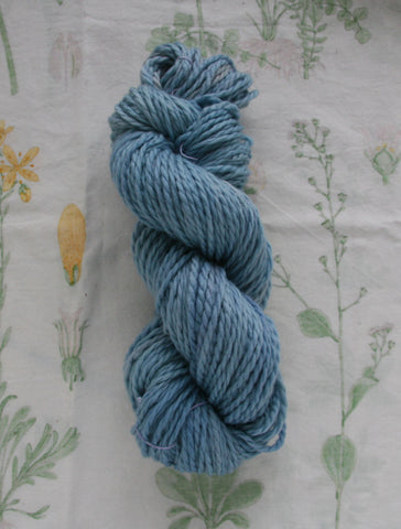 Naturally Dyed Bulky Blue Bean Superwash Yarn