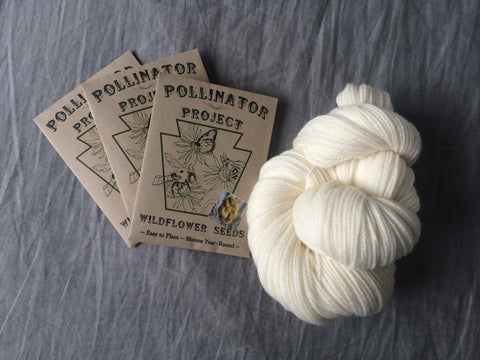 **TRIPLE PACK of Dye Flower Seeds with skein of ready to dye US grown yarn