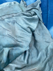 Fresh Leaf Indigo Dyed Silk Satin Cloth