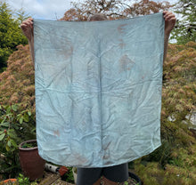 Load image into Gallery viewer, Fresh Leaf Indigo Dyed Silk Satin Cloth