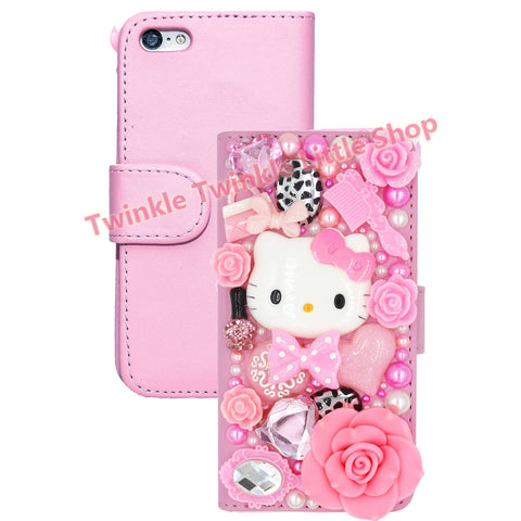 Super Cute 3D Bling Hello Kitty Flip Wallet Leather  Case