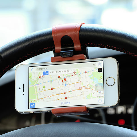 Car Steering Wheel Phone Socket Holder,Car Driving GPS Navigator Rack Sucker Clip Adjustable Retractable Cellphone Trestle