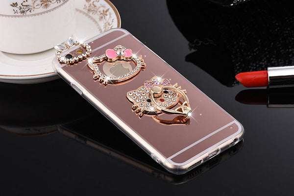 Soft TPU Hello Kitty Bling Diamond Metal Ring Stand Case
