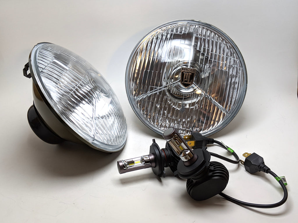 Tri bar vintage headlight with upgraded LED bulbs-PL 700