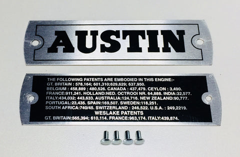 Austin Healey Sprite Austin Healey Sprite Engine Valve cover ID plate kit  - Bugeye