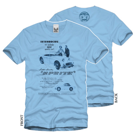 Austin Healey Sprite Introducing an Entirely New Sports Car T-Shirt Shirts - Bugeye