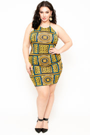 Plus Size  Baroque Print Twist-Back Dress - Mustard