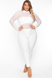 Plus Size 14K Sheer Mesh Rhinestone Jumpsuit - White