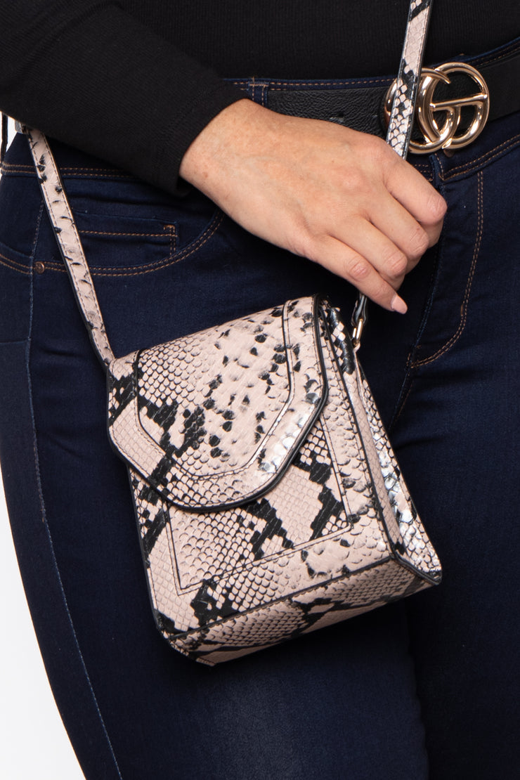 Houston Snake Print Envelope Crossbody - Taupe
