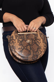 Curvy Sense -Plus_Size_Womens- Kyoto Snake Print Circle Handbag - Brown