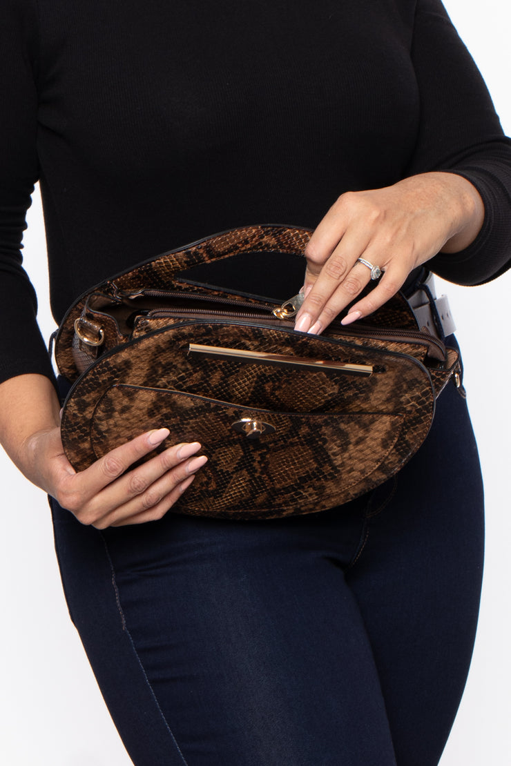 Kyoto Snake Print Circle Handbag - Brown