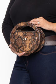 Curvy Sense -Plus_Size_Womens- Mini Kyoto Snake Print Circle Handbag - Brown