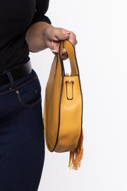 Kingston Circle Fringe Handbag - Mustard