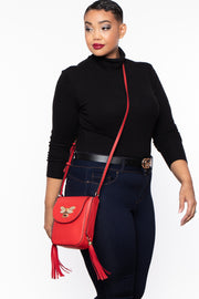 Bethlehem Bee Faux Leather Crossbody - Red