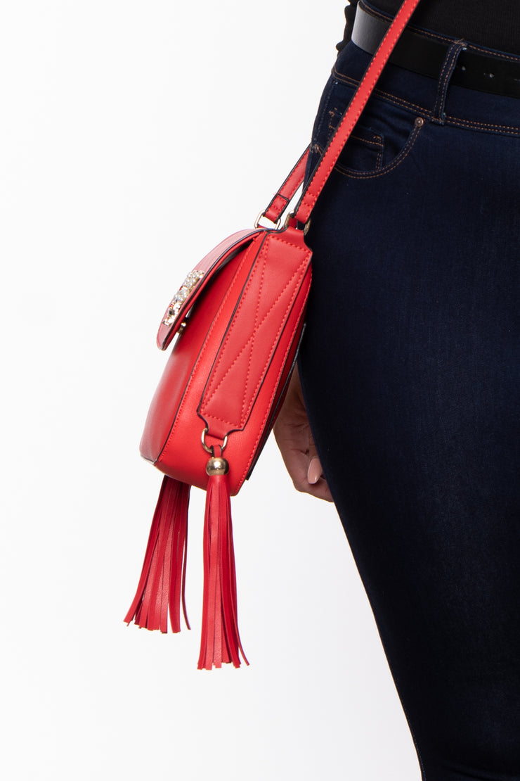 Curvy Sense -Plus_Size_Womens- Bethlehem Bee Faux Leather Crossbody - Red