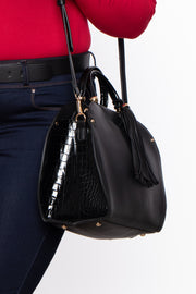 Monaco Faux Leather & Croc Handbag - Black