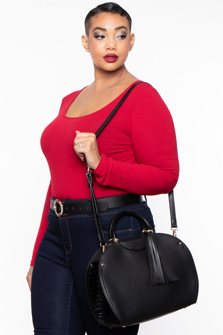 Curvy Sense -Plus_Size_Womens- Monaco Faux Leather & Croc Handbag - Black