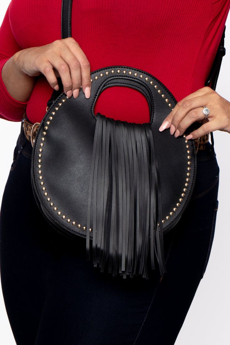Kingston Circle Fringe Handbag - Black