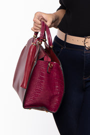 Monaco Faux Leather & Croc Handbag - Wine