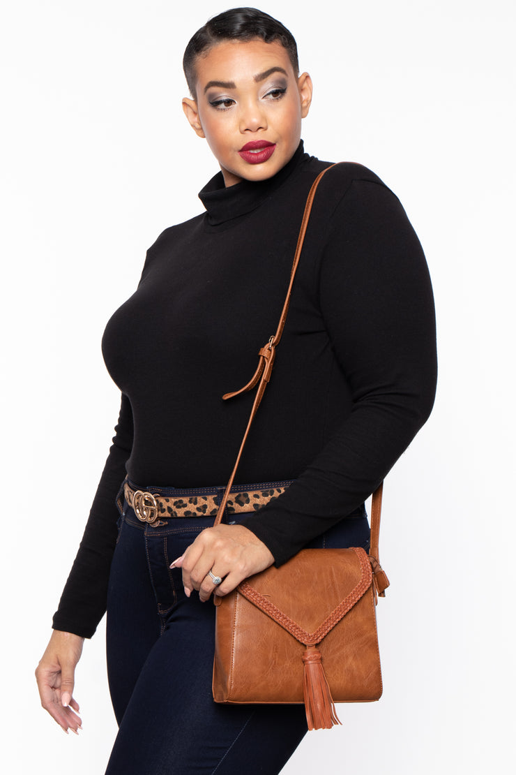Curvy Sense -Plus_Size_Womens- Manchester Braided Envelope Crossbody - Cognac