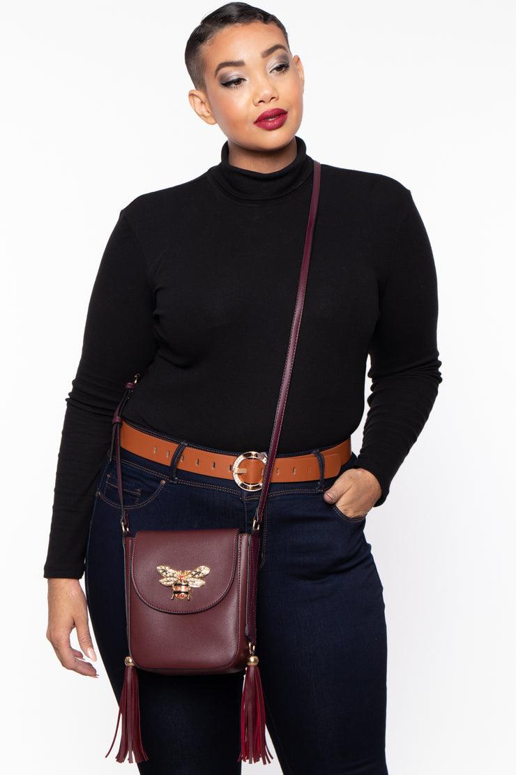 Bethlehem Bee Faux Leather Crossbody - Wine