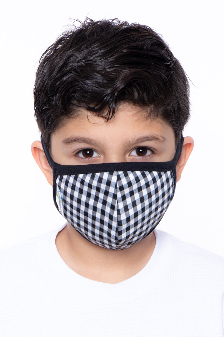 Kids Washable Gingham Face Mask - Ages 4 - 11 - Curvy Sense