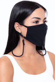 Curvy Sense -Plus_Size_Womens- Face Mask Neck Strap - Black