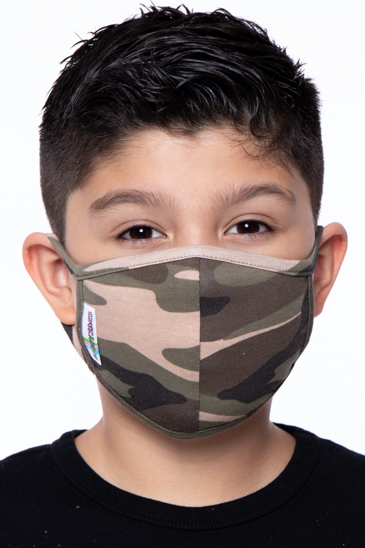 Kids Washable Fun Patterns Face Mask - Boys Ages 4 - 11 - Curvy Sense