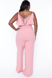 Curvy Sense -Plus_Size_Womens- Plus Size Alizae Wide Leg Jumpsuit - Mauve