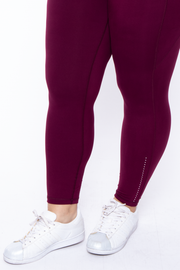 Curvy Sense -Plus_Size_Womens- Plus Size Active Side Pocket Legging - Burgundy