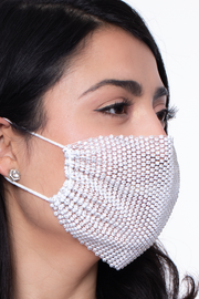 Curvy Sense -Plus_Size_Womens- Decorative Rhinestones Mesh Cover For Face Masks - White