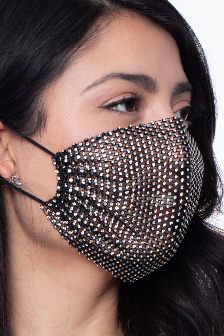 Decorative Rhinestones Mesh Cover For Face Masks - Black