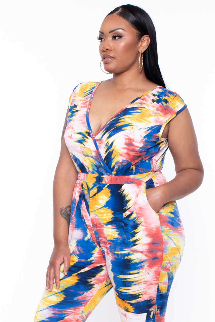 Curvy Sense -Plus_Size_Womens- Plus Size Abstract Rosewood Jumpsuit - Multi Blue