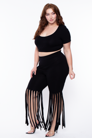Curvy Sense -Plus_Size_Womens- Plus Size Adeline Fringe Matching Pant Set - Black