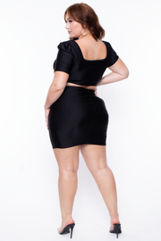 Curvy Sense -Plus_Size_Womens- Plus Size Crop Top & Skirt Set - Black