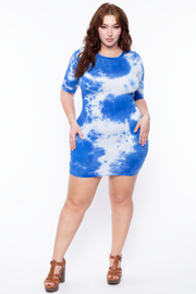 Curvy Sense -Plus_Size_Womens- Plus Size Tie Dye Mini Dress - Blue