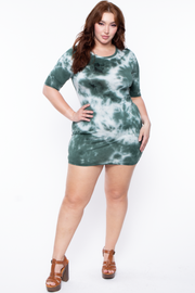 Curvy Sense -Plus_Size_Womens- Plus Size Tie Dye Mini Dress - Hunter Green