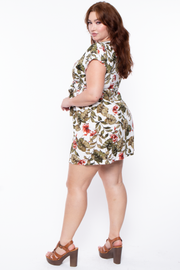 Curvy Sense -Plus_Size_Womens- Plus Size Tropical Button-Front Dress - Ivory