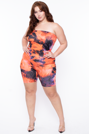 Curvy Sense -Plus_Size_Womens- Plus Size Tie Dye Bodycon Romper Jumpsuit - Orange