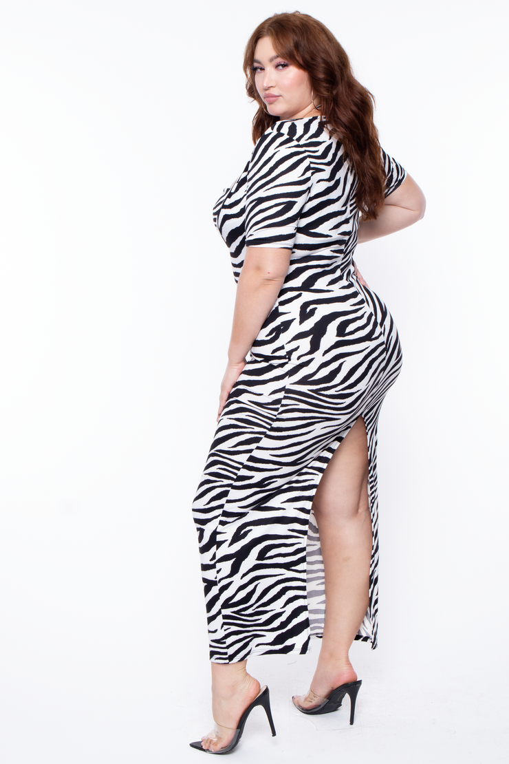 Curvy Sense -Plus_Size_Womens- Plus Size Zebra 2-Piece Maxi Dress - Black