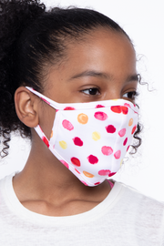 Curvy Sense -Plus_Size_Womens- Kids Washable Fun Patterns Face Mask ( Ages 4 - 11 ) -  Paint Spots
