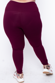 Curvy Sense -Plus_Size_Womens- Plus Size Active High Waist Legging - Burgundy