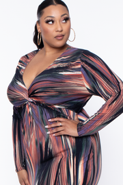 Curvy Sense -Plus_Size_Womens- Plus Size Abstract Twist Front Dress - Black