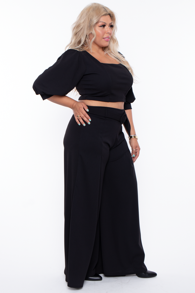 Curvy Sense -Plus_Size_Womens- Plus Size  Valentina Contemporary Set - Black