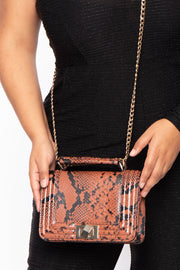 Curvy Sense -Plus_Size_Womens- El Dorado Snake Print Crossbody Box Purse - Cognac