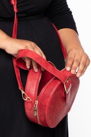 Curvy Sense -Plus_Size_Womens- Paris Faux Leather Belted Circle Bag - Red