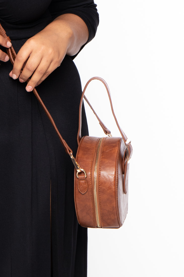 Paris Faux Leather Belted Circle Bag - Brown