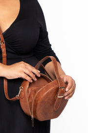 Curvy Sense -Plus_Size_Womens- Paris Faux Leather Belted Circle Bag - Brown